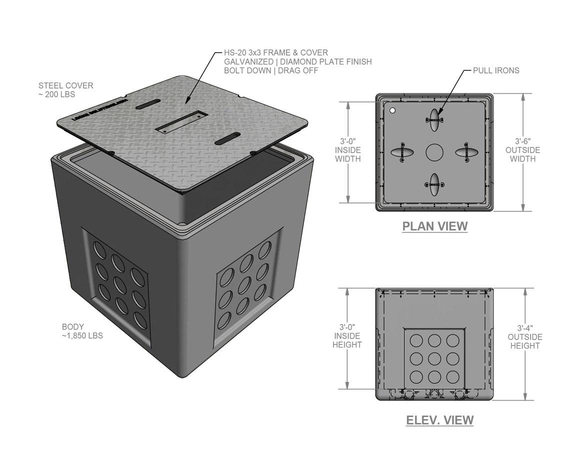 3x3x3 Electrical Pull Box - Locke Solutions